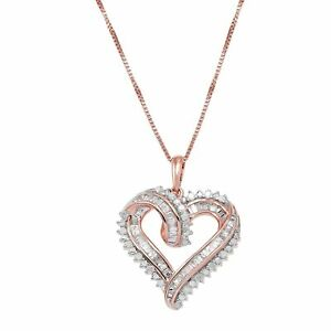 """1/2 ct Diamond Heart Pendant in 14K Rose Gold-Plated Sterling Silver, 18"""""""