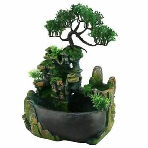 Mini Water Fountain Rockery Waterfall Desktop Zen Table Humidifier Home Decor UK