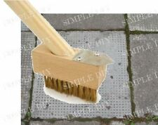 2 in 1 Weed Brush Patio Wire Broom Weed Moss Removal Tool Long Wooden Handle UK