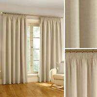 Natural Blackout Curtains Plain Tape Top Ready Made Pencil Pleat Curtain Pairs