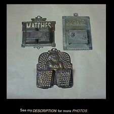 (3) Antique Victorian Tin Wall Mount Match Safe Holders