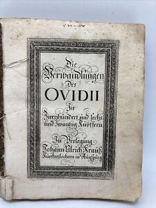 Die Verwandlungen des Ovidii, 216 Kupferstiche, von Joh. Krauß, Augsburg 1690