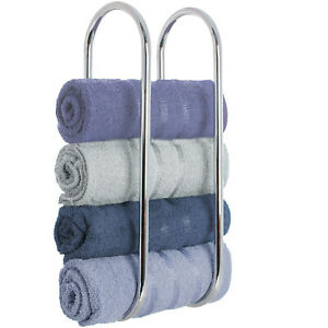 Wall Mounted Chrome Towel Holder Shelf Bathroom Storage Metal Rail Bath Toilet