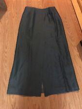 BARRY BRICKEN Long Linen Blend Skirt Sz 4 runs small Lined Front  Slit Gray Grey