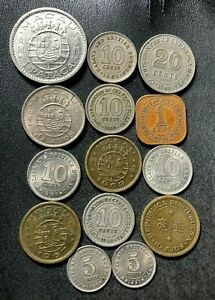 Old Malaya/Macau Coin Lot - 1943-1972 - 14 Excellent Coins - Lot #S24
