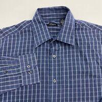 Van Heusen Button Up Shirt Men's Size 15.5 Long Sleeve Blue Plaid Poly Cotton