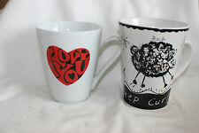 2 Mug Cup Rayware Sheep Curly Butterfly I Love You