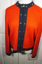 St. John Collection Jacket, 8, Red with navy trim, Long sleeves, zipper front