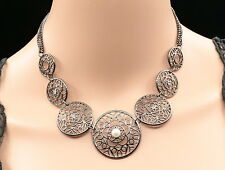 Accessory9 white pearl beads crystal round chain statement collar necklace N70