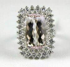 Radiant Morganite & Diamond Halo Long Solitaire Ring 14k White Gold 10.45Ct