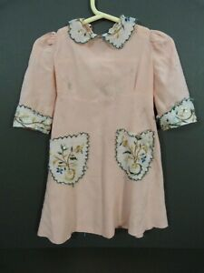 Antique silk crepe dress for a large doll with embroidered details