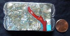 Unique BUCKLE Abalone With CORAL & TURQUOISE *1.25 Inch Belt*Vintage*FREE SHIP*