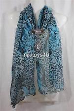 Leopard Fashion Jewelry Scarf w Decoration Rhinestone Necklace Pendant