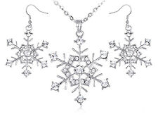 Diamante Crystal Rhinestone Winter Snowflake Holiday Fun Necklace Earrings Set