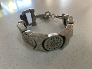 Solid Silver Bracelet  On Leather Band Unique Stunning