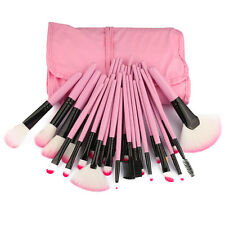 32pc Pink Professional Soft Cosmetic Eyebrow Shadow Makeup Brush Set + Pouch Bag