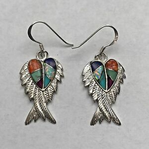 Sterling Silver Inlay Different Stones Heart Angel Feather Wings Hook Earrings