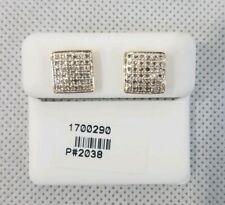 10k Oro Micro-Pavè Diamanti Taglio Quadrato Bottone Uomo