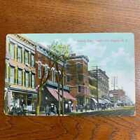 CENTRAL AVE. JERSEY CITY HEIGHTS, N.J. Antique Postcard Brownstone Stores 1909