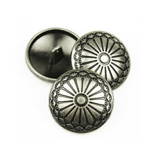 5PCS Silver Metal Round Sunflower Shank Button Sewing Craft DIY Coat 23MM/36L