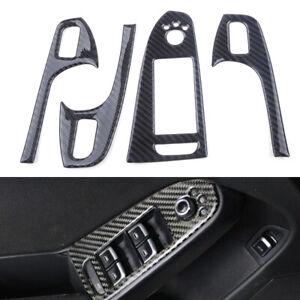 4PCS/SET Carbon Fiber Door Window Switch Button Trim Fit For Audi A4 A5 Q5 S4 se