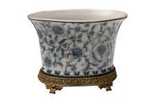 Beautiful Oval Blue and White Chinoiserie Porcelain Flower Pot Ormolu Base 7.5""