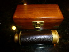 "6"" Nautical Marine Leather Stitched Solid Brass Spyglass/Telescope in wooden Box"