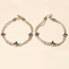 Real African Emerald Ruby Sapphire Anklet 925 Sterling Silver Women Fine Jewelry