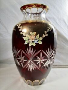 Ardalt  Lenwile  Red Cut To Clear  Large Vase  -  Gold Trim