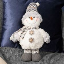 Standing Soft Snowman with Grey Fur Hat & Gloves