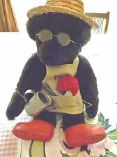 "Vermont 17"" Dark Brown Teddy Bear Dressed for Gardening with Watering Can"