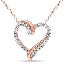 Pink Sterling Silver 3/4 ct TGW White Sapphire Heart Pendant Necklace 18""