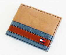 NEW TOMMY HILFIGER KHAKI LEATHER PASSCASE CREDIT CARD BILLFOLD ID MEN'S WALLET