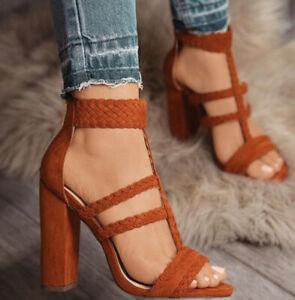 Womens Braid T-Strap Peep Toe Sandals Ladies Zipper High Block Grace Shoes Heels