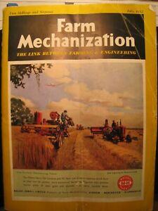 VINTAGE FARM MECHANIZATION MAGAZINE - July 1952 with Massey Harris equipment on