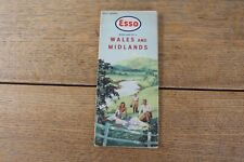 ORIGINAL VINTAGE ESSO UK MAP 1950's WALES AND WEST MIDLANDS IN GOOD CONDITION