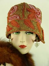 Vintage Hat Orig. 1920s Cloche Soutache, Embroidery & Beadwork & Deco Hat Flash