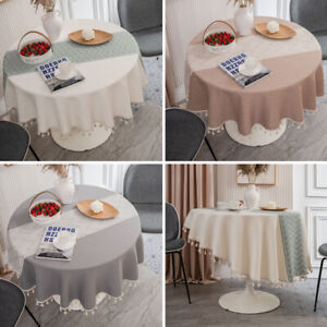 Round Tassel Tablecloth Classic Cotton  Kitchen Dining Table Cover Home Decor