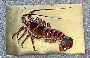 "Vintage Lobster Hand Crafted Enamel Lobster On Metal 14"" X 9 1/4"""