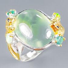 Vintage SET Natural Prehnite 925 Sterling Silver Ring Size 8/R120417