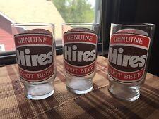 3X Vintage Genuine Hires Root Beer Logo Soda Pop Collectible Glasses Excellent!