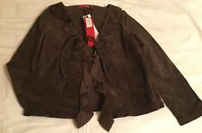 Ladies NAUGHTY chocolate brown suede leather Designer Jacket Size 10/12/14? UK