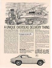 1963 Lotus Elite Unique Overseas Delivery Thing art Vtg Print Ad