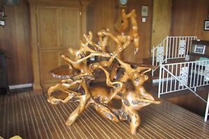 Rare Unique Custom Teak Root Table Art Sculpture-4 Shelves #5012