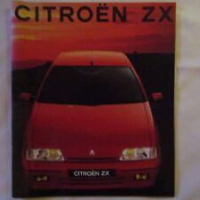 CITROEN ZX 1.4 1.6i 1.9i 1.9D Reflex Aura avantage VOLCANE Reino Unido Folleto de coche 1991