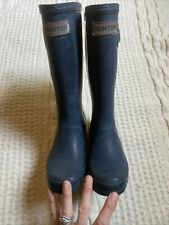 Hunter Kids Boys Girls Matte Black Gray Rain Boots 1 M 2 F 32