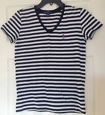 Women's Ralph Lauren Sport tee shirt, black & white stripes, M, 100% cotton,EUC
