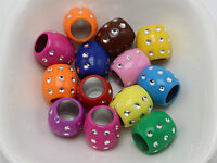 50 Mixed Color Sparkling Silver Dots Acrylic Barrel Beads 13X12mm Big Hole 8mm
