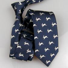 LAMMULIN Men Navy w Silver Ties White Rabbit Pattern Necktie Jacquard Tie 7cm