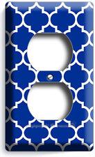 Geometric Blue White Arabic Trellis Pattern Outlet Wall Plate Bedroom Room Decor